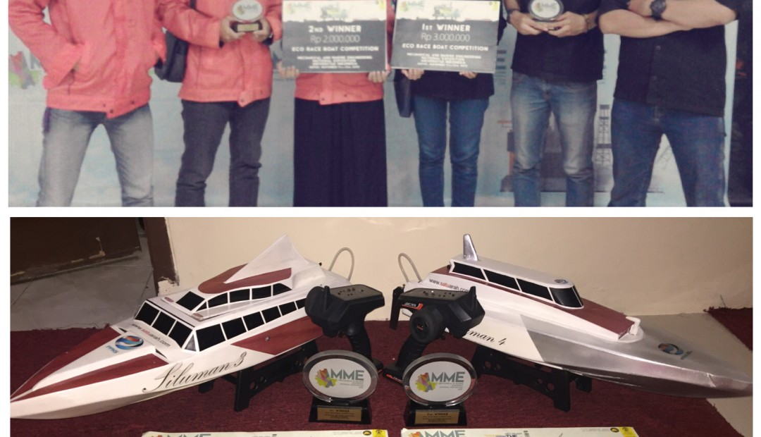 Juara 1 dan 2 pada Kompetisi Eco Race Boat Mechanical And Marine National Engineering Exposition 2015 di Universitas Indonesia